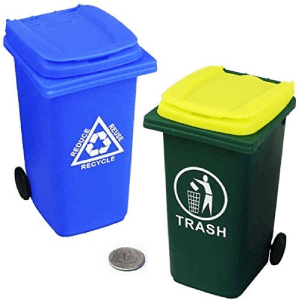 Mini Garbage Trash Can and Tiny Outdoor Recycling Bin
